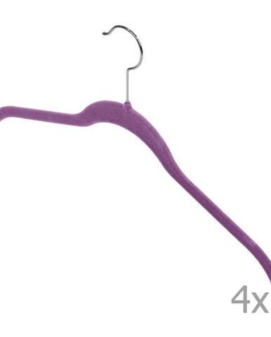 Sada 4 fialových vešiakov Domopak Velvet Hangers