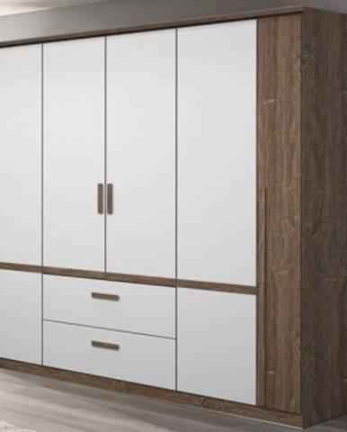 Šatníková skriňa Bernau, 226 cm, dub stirling / biela, otočné dvere%