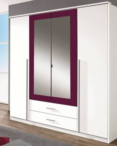 Šatníková skriňa Krefeld, 181 cm, biela/fialová%