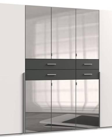 Šatníková skriňa DECLAN biela/grafit, 225 cm, 6 zrkadiel