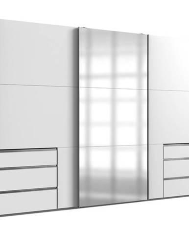 Šatníková skriňa ELIOT biela, 1 zrkadlo