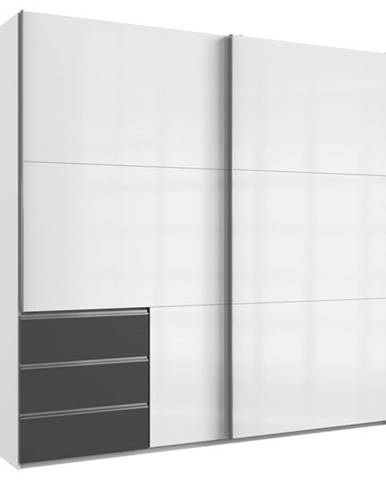 Šatníková skriňa ELIOT biela/grafit, šírka 250 cm, bez zrkadla