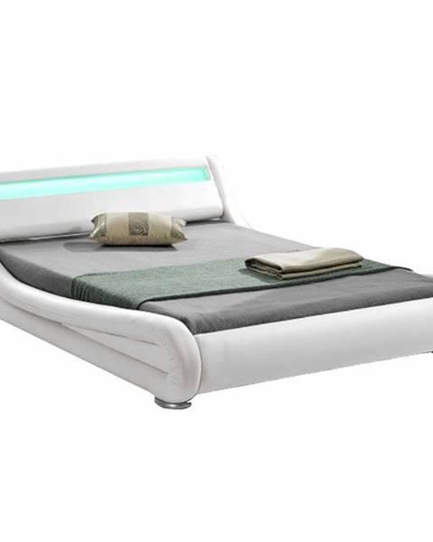 Kondela Moderná posteľ s RGB LED osvetlením biela 180x200 FILIDA