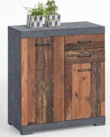 Komoda so zásuvkami Bristol, brúsený kov/vintage drevo%