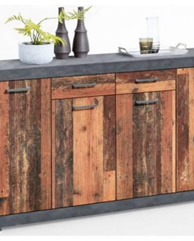 Široká komoda Bristol, brúsený kov/vintage drevo%