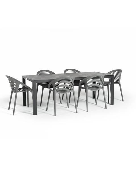 Le Bonom Sivá záhradná súprava nábytku so 6 stoličkami Le Bonom Joanna Thor
