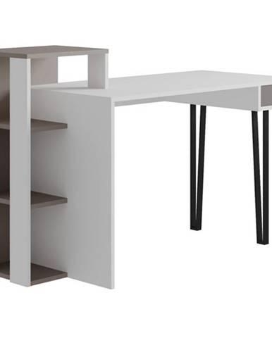 Písací stôl s regálom PICADILLY LOYD biela/svetlá mocha