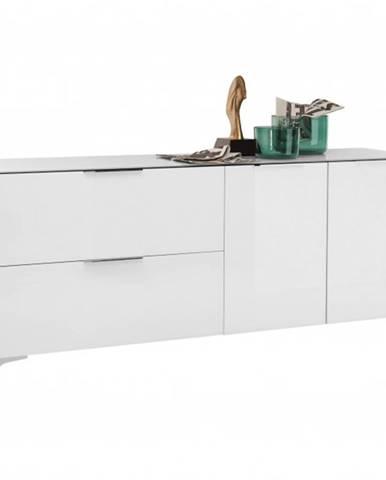 TV stolík BENTLEY biela matná/biele sklo
