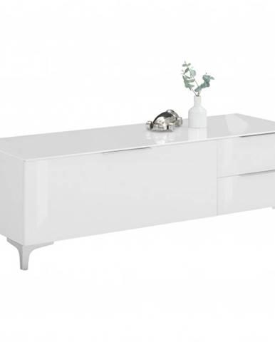 TV stolík BENTLEY biela matná/biele sklo, šírka 135 cm