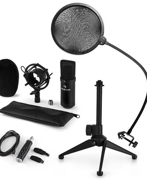Auna Auna CM001B mikrofónová sada V2, kondenzátorový mikrofón, USB-adaptér, mikrofónový stojan, čierna farba