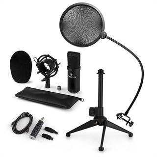 Auna CM001B mikrofónová sada V2, kondenzátorový mikrofón, USB-adaptér, mikrofónový stojan, čierna farba