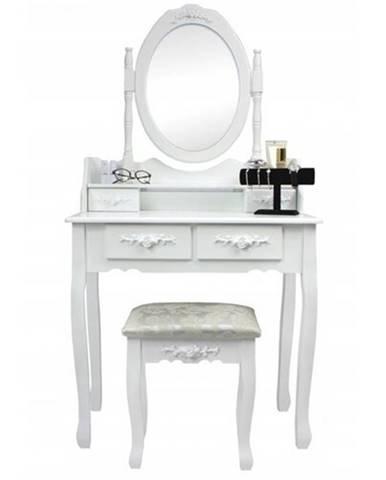 Toaletný stolík s taburetom Emilie, 143 x 74 x 40 cm