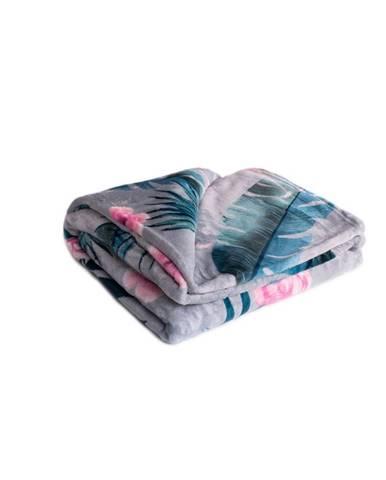 Jahu Deka XXL / Prehoz na posteľ Plameniak grey, 200 x 220 cm