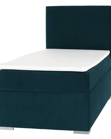 Boxspringová posteľ jednolôžko zelená 90x200 pravá SAFRA rozbalený tovar