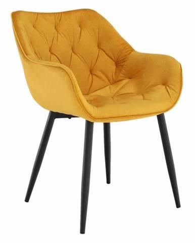Dizajnové kreslo žltá Velvet látka FEDRIS rozbalený tovar