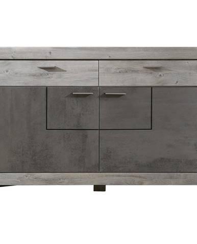 Landscape KOMODA, sivá, farby dubu, 156/100/42 cm - sivá, farby dubu