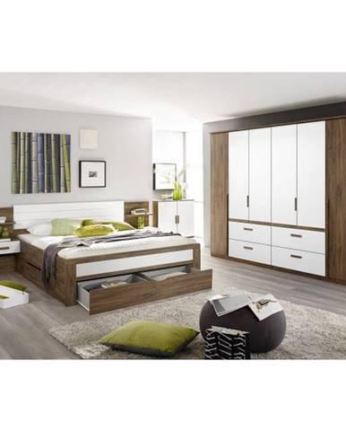 POSTEĽ, 160/200 cm, kompozitné drevo, biela, farby dubu - biela, farby dubu
