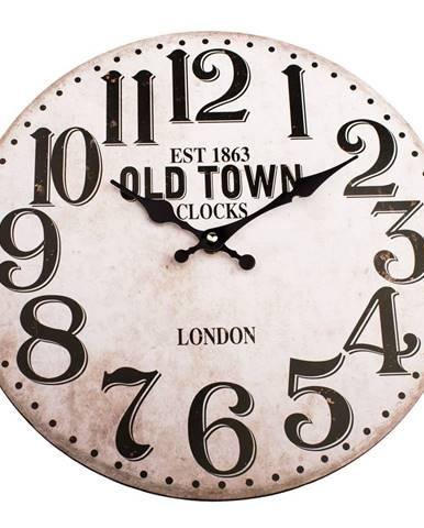 Drevené nástenné hodiny Old town clock, pr. 34 cm