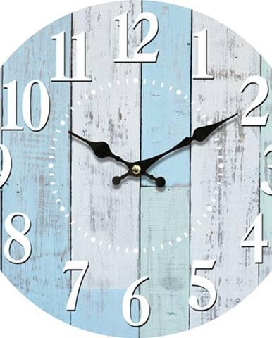 Drevené nástenné hodiny Blue deck, pr. 34 cm