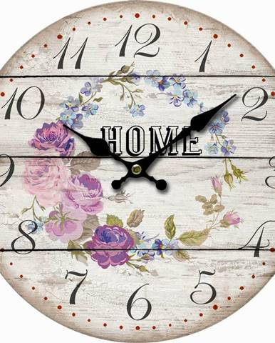 Drevené nástenné hodiny Home and flowers, pr. 34 cm