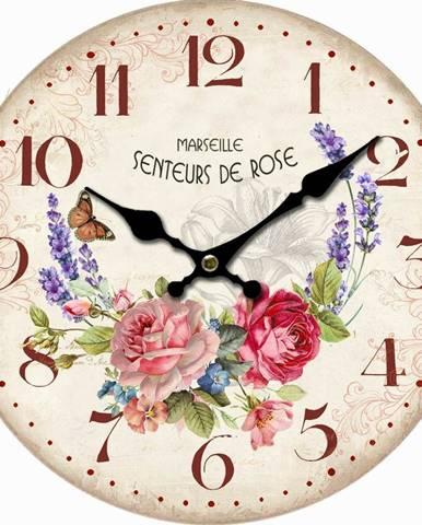 Drevené nástenné hodiny Marseille flowers, pr. 34 cm