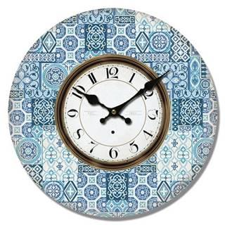 Drevené nástenné hodiny Mosaic tiles, pr. 34 cm