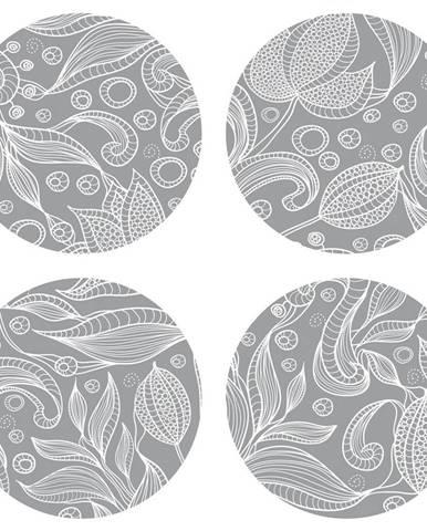 AG Art Podložka pod hrnček Leaves grey, okrúhla, pr. 10 cm, sada 4 ks