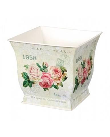 Plechový obal na kvetináč Kvety ruží, 15 x 14 x 15 cm