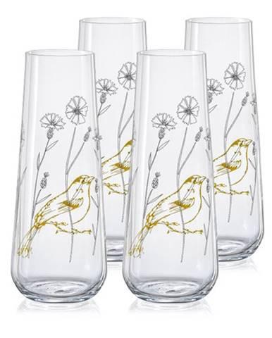 Crystalex 4-dielna sada pohárov na prosecco Stemlesss 250 ml, lúka