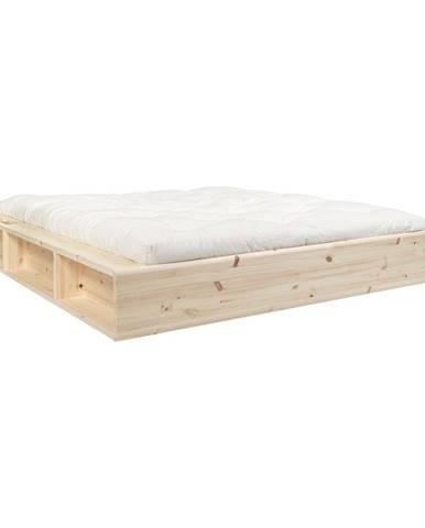 Dvojlôžková posteľ z masívneho dreva s úložným priestorom a futónom Comfort Karup Design, 140 x 200 cm