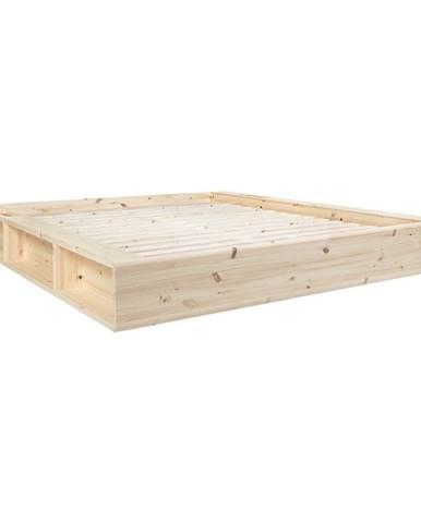 Dvojlôžková posteľ z masívneho dreva s úložným priestorom Karup Design Ziggy, 140 x200cm