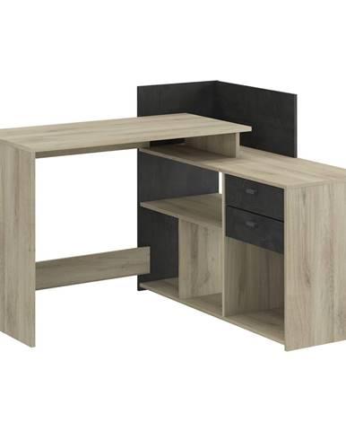 Písací stôl rohový VISTA dub/čierny antik