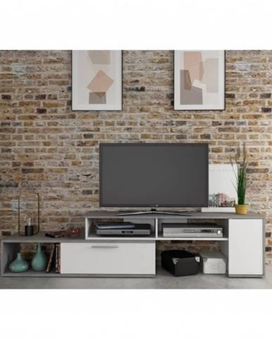 TV komoda WINN imitácia betónu/biela