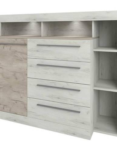 Komoda Milana Oak Grey craft/oak white craft
