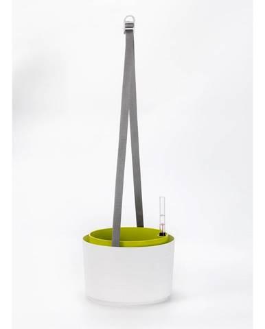 Plastia Samozavlažovací závesný kvetináč Berberis biela + zelená, pr. 30 cm
