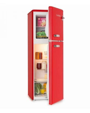 Klarstein Audrey, chladnička s mrazničkou, 90 l/39 l, retro vzhľad, červená