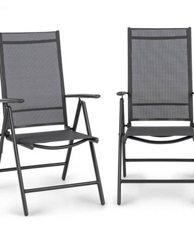 Blumfeldt Almeria, skladacia stolička, sada 2 kusov, 56,5 x 107 x 68 cm, ComfortMesh, antracitová