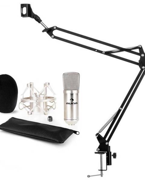 Auna Auna CM001S mikrofónová sada V3, kondenzátorový mikrofón, mikrofónové rameno, strieborná farba