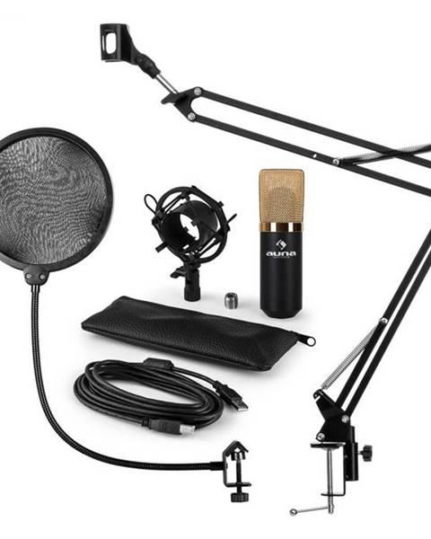 Auna Auna MIC-900BG, USB mikrofónová sada V4, zlatá, kondenzátorový mikrofón, pop filter, mikrofónové rameno
