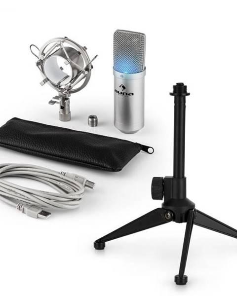 Auna Auna MIC-900S-LED V1, USB mikrofónová sada, strieborný kondenzátorový mikrofón + stolný statív