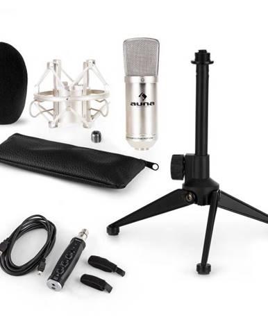 Auna CM001S mikrofónová sada V1, kondenzátorový mikrofón, USB-adaptér, mikrofónový stojan, strieborná farba