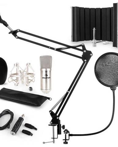 Auna CM001S mikrofónová sada V5, kondenzátorový mikrofón, USB-adaptér, mikrofónové rameno, pop filter, panel, strieborná farba