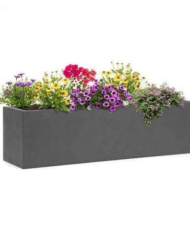 Blumfeldt Solidflor, kvetináč, 75 x 20 x 20 cm, sklolaminát, do interiéru aj exteriéru, tmavosivý
