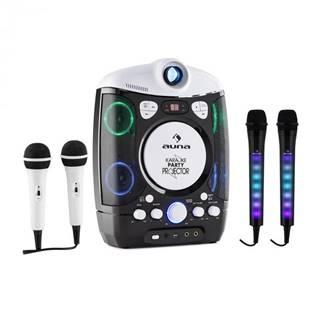 Auna Set: karaoke systém Kara Projectura, čierny + dva mikrofóny Kara Dazzl, LED podsvietenie