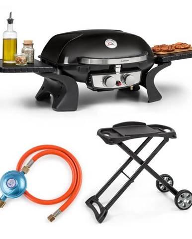 Klarstein Parforce Duo, plynový gril, plynová hadica, grilovací stôl, 2 horáky, 4,4 kW, 15000 BTU, čierny