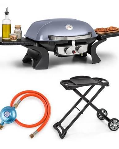 Klarstein Parforce Duo, plynový gril, plynová hadica, grilovací stôl, 2 horáky, 4,4 kW, 15000 BTU, sivý