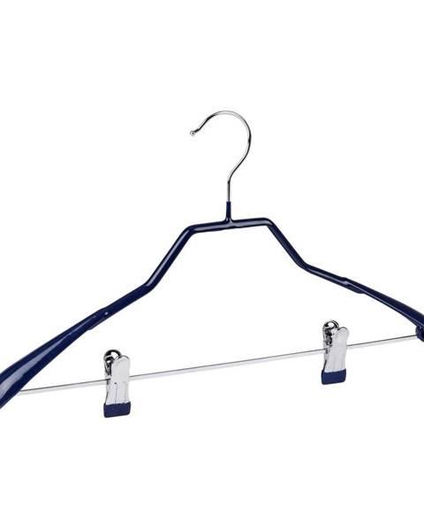 Wenko Modrý protišmykový vešiak na oblečenie s klipsami Wenko Hanger Shape