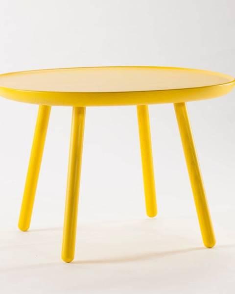 EMKO Žltý stolík z masívu EMKO Naïve, ø64cm