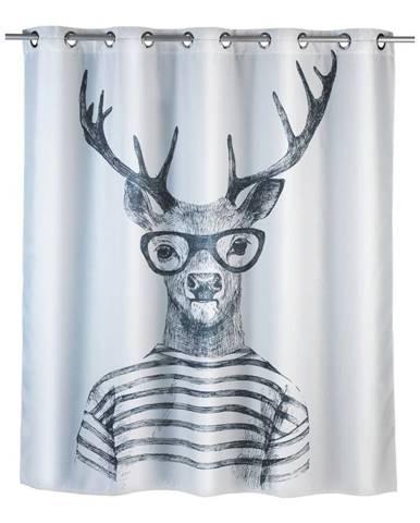 Biely sprchový záves s protiplesňovou povrchovou úpravou Wenko Mr. Deer, 180×200 cm