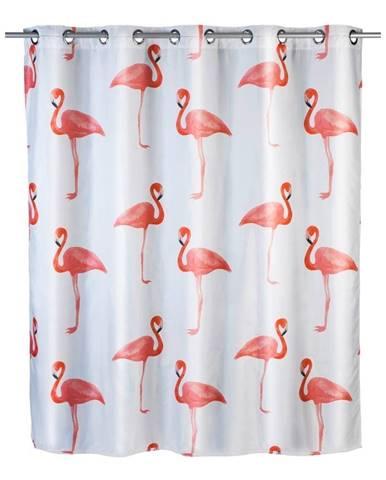 Sprchový záves s protiplesňovou povrchovou úpravou Wenko Flamingo, 180×200 cm